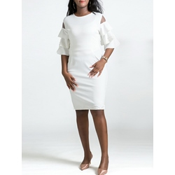 Ruffle Sleeve Falbala Bead Women's Bodycon Dress