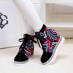 Shoespie Print Lace-Up Wedge Sneakers