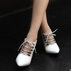 Pointed Toe Lace-Up Casual Stiletto Heels
