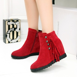 Beads Fringe Casual Wedge Heel Flat Boots