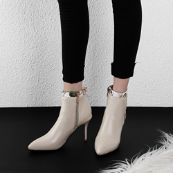 Shoespie Stiletto Heel Embroidered Ankle Boots