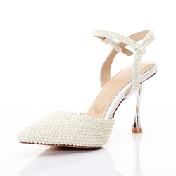 White Beads Ankle Strap Buckle Wedding Shoes