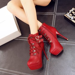 Shoespie Platform Buckle Stiletto Heel Ankle Boots