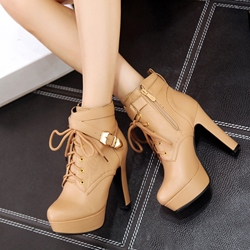 Shoespie Cross Strap Platform Buckle Ankle Boots