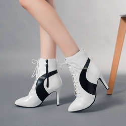Black & White Cross Strap Kitten Heel Ankle Boots