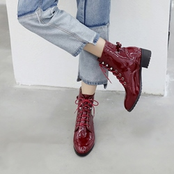 Shoespie Bowknot Lace-Up Ankle Boots