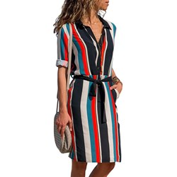 Shoespie Belt Button Stripe Women's Maxi Dress