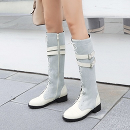 Cross Strap Buckle Fashion Knee High Boots
