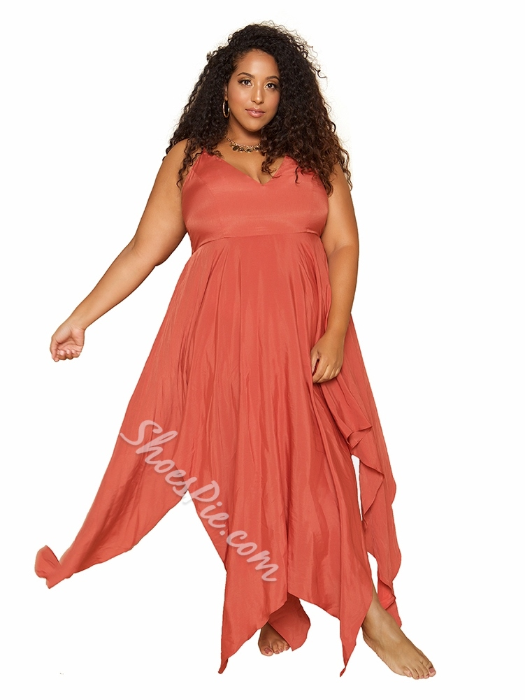 Plus Size V-Neck Spaghetti Strap Sleeveless Asymmetric Women's Dress