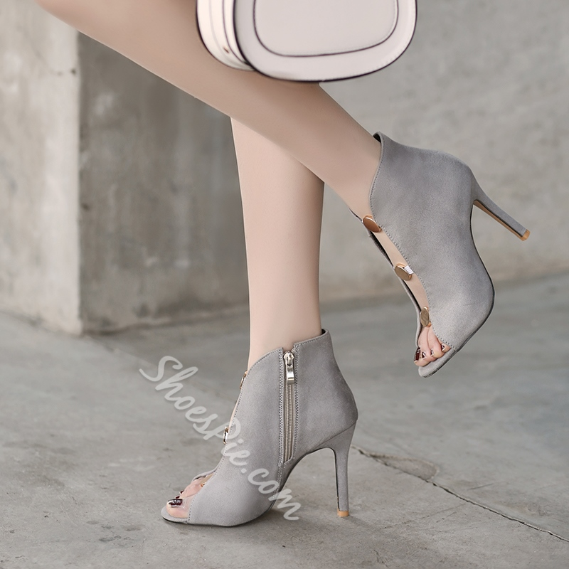 Casual Sequin Suede Stiletto Heel Ankle Boots