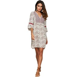 Shoespie Embroidery Floral V Neck Women's A-Line Dress
