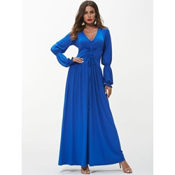Shoespie Dark Blue Elegant V Neck Women's Maxi Dress