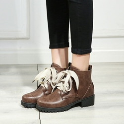 Lace-Up Round Toe Casual Ankle Boots