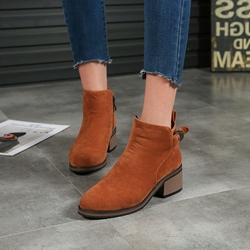 Buckle Casual Round Toe Ankle Boots