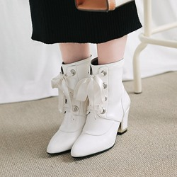 Cross Strap Back Zip Pointed Toe Ankle Boots