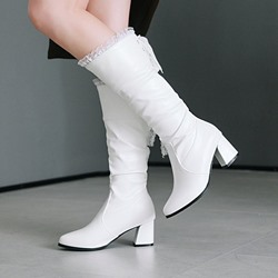 Shoespie Lace Purfle Casual Knee High Boots