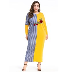 Embroidery Patchwork Stripe Women's Maxi Dress