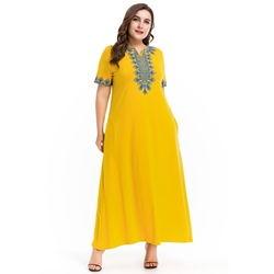 Embroidery Pocket Floral V Neck Women's Maxi Dress