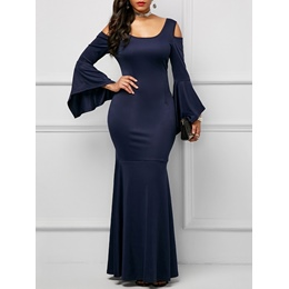 Hollow Backless Elegant Plain Women's Maxi Dress