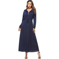Shoespie Stand Collar Pocket Pullover Women's Maxi Dress