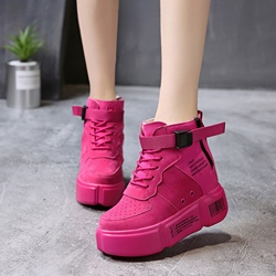 New Chic Buckle Round Toe Wedge Sneakers