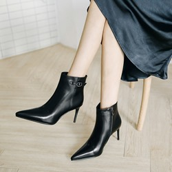 Black Buckle Pointed Toe Ankle Boots