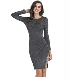 Shoespie Button Elegant Regular Women's Bodycon Dress