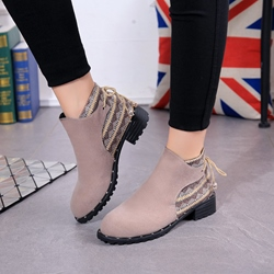 Shoespie Casual Lace-Up Back Ankle Boots