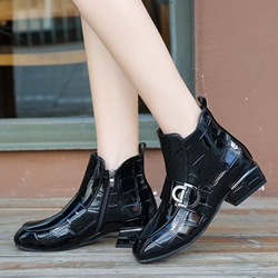 Buckle Black Casual Ankle Boots
