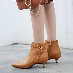 Casual Buckle Pointed Toe Kitten Heel Ankle Boots