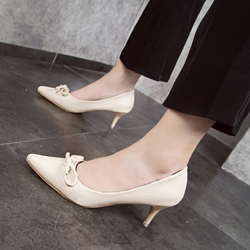 Bow Thread Slip-On Stiletto Low Heels