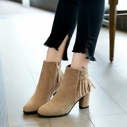Shoespie Fringe Buckle Casual Ankle Boots