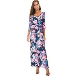 Shoespie Lace-Up Print Travel Look Women's Maxi Dress
