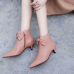 Bowknot Casual Pointed Toe Kitten Heel Ankle Boots