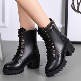 Black Casual Lace-Up Ankle Boots