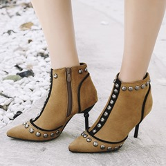 Rivet Pointed Toe Fashion Ankle Boots