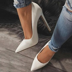 White Classic Pointed Toe Stiletto Heels