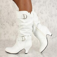 Buckle Round Toe Side Zipper Ankle Boots