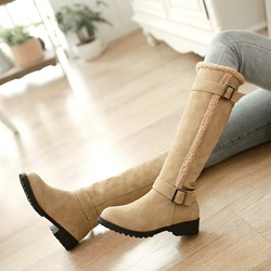 Buckle Casual Round Toe Slip-On Knee High Boots