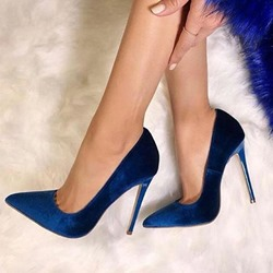 Dark Blue Suede Pointed Toe Banquet Stiletto Heels