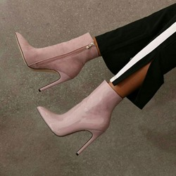 Pink PU Fashion Stiletto Heel Ankle Boots