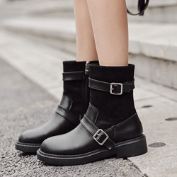 Black Buckle Casual Ankle Boots
