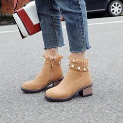 Bead Falbala Round Toe Suede Ankle Boots