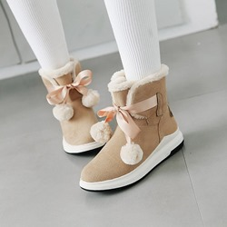 Cute Pompon Suede Ankle Boots