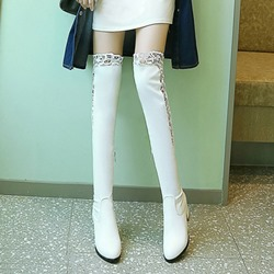 Hollow Lace Women Thigh High Boots