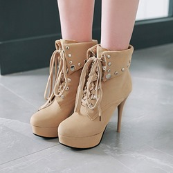 Rivet Platform Suede Lace-Up Ankle Boots