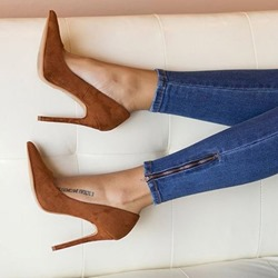 Brown Pointed Toe Slip-On Stiletto Heels