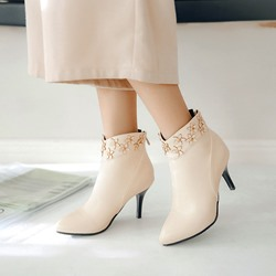 Appliques Casual Back Zip Ankle Boots