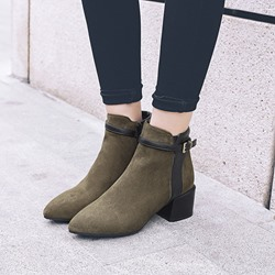 Shoespie Suede Pointed Toe Buckle Ankle Boots