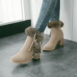 Fringe Pompon Casual Round Toe Ankle Boots